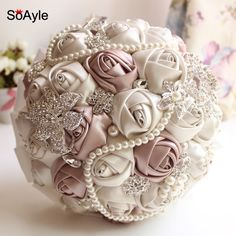 Find More Wedding Bouquets Information about SoAyle Crystal Luxury Bling Wedding Bouquet Sparkle Brooch Bouquet Wedding Accessory Artifical Flowers Pearls Bridal Bouquets,High Quality flower bouquet pink,China flower bouquet supplies Suppliers, Cheap flower saddle from Susie Custom Shop on Aliexpress.com