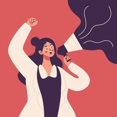 Woman screaming with a megaphone Free Ve. Illustration Story, Forest Illustration, Business Illustration, Character Illustration, Web Design, Flat Design, Powerful Women, Aesthetic Art, Female Characters