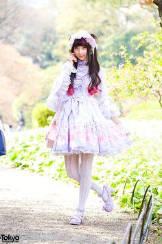 "Tokyo-based model RinRin Doll wearing an Angelic Pretty lolita look at Shinjuku Gyoen during the filming of her new ""Sweet Harajuku Styles"" ..."
