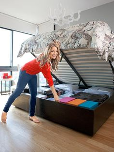 HGTV's Sabrina Soto shows off her bedroom's under-the-matress storage.>> www.hgtv.com/homekeeping/star-secrets-to-cleaning-and-organizing/pictures/page-6.html?soc=pinterest