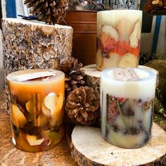 Rosy Rings handmade botanical candles are filled with real fruit, spices, and other natural elements.