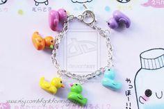 Polymer Clay Kawaii Charms | Kawaii Multicolour Rubber Duck Polymer Clay Charm by ~CharmsByIzzy on ...