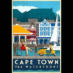 Vintage inspired travel poster of the Waterfront in Cape Town South Africa by studiomuti