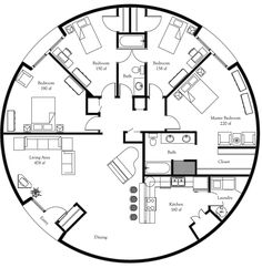 Plan Number: DL5001 Floor Area: 1,964 square feet Diameter: 50' 4 Bedrooms 2 Baths