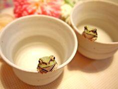 きたむら工房「蛙の白い湯呑」
