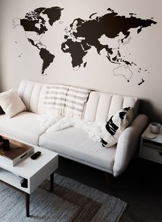 World Map Peel Out Silhouette Vinyl Wall Decal