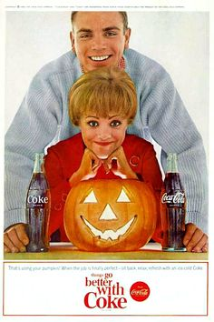 1964 Coke Coca-Cola Ad, Jack-o-Lantern - Using Pumpkin!-This is a 1964 ad for Coca-Cola! The size of the ad is approximately inches. Retro Halloween, Vintage Halloween Images, Halloween Drinks, Halloween Jack, Halloween Photos, Happy Halloween, Vintage Holiday, Halloween Ideas, Halloween Greetings