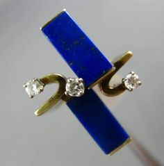 ANTIQUE-18CT-DIAMOND-amp-LAPIS-14KT-WHITE-amp-YELLOW-GOLD-3D-RECTANGULAR-FUN-RING Cross Love, Rings Cool, Love Ring, Antique Rings, White Gold, Amp, Diamond, Yellow, Antiques