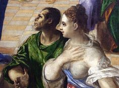 Detail of the Miracle of Christ Healing the Blind by El Greco in the Metropolitan Museum of Art, December 2007, for more please visit http://painting-in-oil.com/artworks-El-Greco-page-1-delta-ALL.html