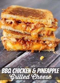 BBQ Chicken & Pineapple Grilled Cheese is the perfect ooey-gooey Hawaiian style grilled cheese sandwich. I was reading an article last week that mentioned that if you add any ingredients to a grilled cheese, Cheese Sandwich Recipes, Grilled Cheese Recipes, Grilled Cheeses, Chicken Recipes, Perfect Grilled Cheese, Panini Recipes, Vegetarian Sandwiches, Tacos, Tostadas