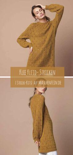 Strick-Kit für dieses Kleid (das hervorragend auch als Oversized-Pulli getragen werden kann) aus dem SandnesGarn Magazin 1914 (deutsch). Gestrickt wird zweifädig aus Tynn Silk Mohair (57 % Mohair, 15 % Schurwolle, 28 % Seide) und Babyull Lanett (100 % Merino) auf 4,0 und 4,5 mm Nadeln (bzw. passend zur Maschenprobe). Crochet Ideas, Kit, Movie Posters, Wardrobe Closet, Silk, Deutsch, Cast On Knitting, Film Poster, Popcorn Posters
