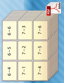 A set of printable subtraction flash cards for kids, with addition problems made of numbers 1 – 9.