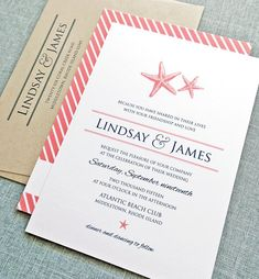 Lindsay Coral and Navy Starfish Beach Wedding Invitation by Cricket Printing