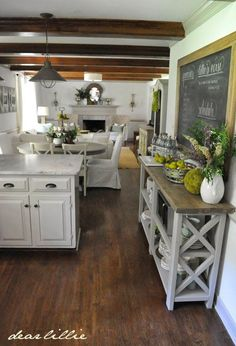 Our Summer Kitchen and Family Room by Dear Lillie Long room solution with kitchen on one end and family room on other
