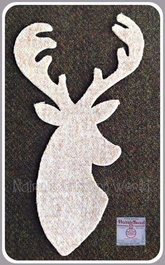 1x8in Beige, Stag Head, Harris Tweed Wool,Cut Out,Iron On,Sew On,Appliqué 1