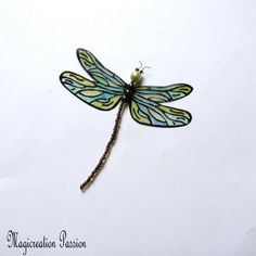 "magnet libellule transparente verte 8 cm ""Demoiselle"" +1 aimant Magnet, Transparent, Decoration, Polyester, Dimensions, Etsy, France, Unique Jewelry, Objects"