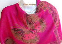Large Butterfly Scarf. Autumn Scarf.Winter by HappyIdeology