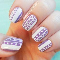 Tribal. Purple & white.