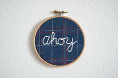 Ahoy Embroidery Hoop Art by ErinLynnDesigns on Etsy