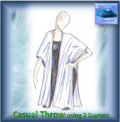 """Instructions on YouTube - """"Sew with Scarves - A Casual Throw Top with 3 Variations"""". Original Throw Top. 2 scarves, 1 straight stitched seam, ideal for beginner to advanced sewers. Comfortable, light and sassy. Short Scarves, Long Scarf, Fabric Art, Sassy, Sewing, Casual, Youtube, Top, Dressmaking"""