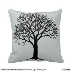 """Tree Silhouette Polyester Throw Pillow 16"""" x 16"""""""