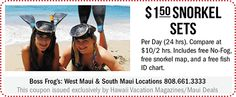 Boss Frog's Snorkel Sets Snorkel Set, West Maui, Maui Travel, Hawaii Vacation, Daily Deals, Snorkeling, Frogs, Coupons, Diving