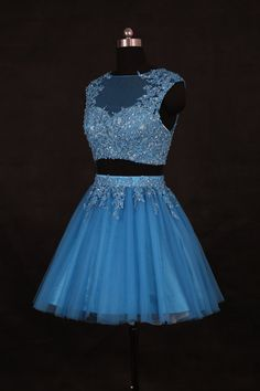 Weddingdec Blue Two Pieces Homecoming Dress/Short Beading Homecoming Dresses/Short Lace Prom Dress/Cocktail Dress/2016 Homecoming Dress WDD056