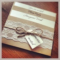1 Vintage/Shabby Chic Style lace Pocket 'Rebecca' Wedding Invitation Sample