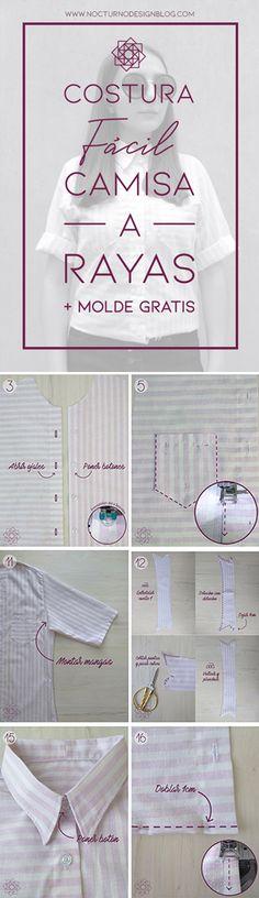 Costura fácil: Camisa a rayas + molde gratis – Nocturno Design Blog Sewing Patterns Free, Free Sewing, Clothing Patterns, Free Pattern, Design Blog, Diy Clothes, Ideas Para, Entertaining, Costura Diy