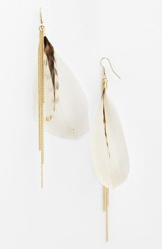 Topshop Feather Drop Earrings available at #Nordstrom