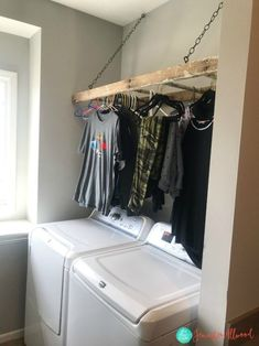 Clothes Hanger DIY - Laundry Room Clothes Hander Solution from a Repurposed Ladder. clothes hanger Clothes Hanger DIY - Laundry Room Clothes Hander Solution from a Repurposed Ladder Laundry Room Layouts, Laundry Room Organization, Laundry Room Design, Laundry Rooms, Best Clothes Hangers, Clothes Hanger Storage, Clothing Storage, Ladder Hanger, Laundry Hanger