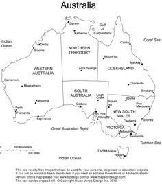 Australia printable, blank map, administrative districts, royalty free