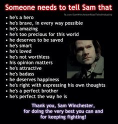 Like/Repin if you think Sam should be told this!