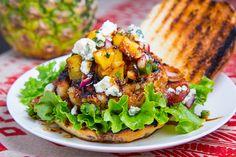 Teriyaki Shrimp Burgers with Grilled Pineapple Salsa and Bacon