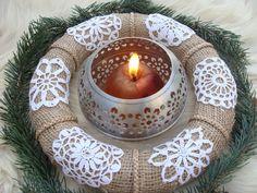 Christmas Wreath Star,Xmas wreath Snowflake,White Christmas Decorations,Six Crochet Snowflake Wreath,Xmas Wreath Vintage, Shabby Chic Wreath