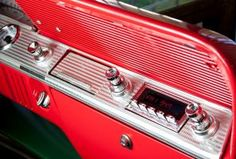 RetroSound's Model Two head unit is designed to keep the classic look, without sacrificing the modern touches. 1961 Impala, Chevy Impala, Car Chevrolet, Shop Interiors, Retro Cars, Car Detailing, Classic Cars, Modern, Design