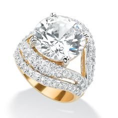 <li>Cubic Zirconia Beaded Double Split-Shank Ring</li><li>14k Goldplated Engagement jewelry</li><li><a href='http://www.overstock.com/downloads/pdf/2010_RingSizing.pdf'><span class='links'>Click here for ring sizing guide</span></a></li>