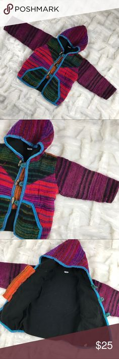 Artisan Vibrant Colors Wool Coat Sweater PreLoved Jackets & Coats