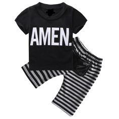 Hi Hi Baby Store 2pcs Toddler Kids Baby Boy T-shirt Tops Long Pants Trousers Cotton Outfits Clothing Set #Affiliate