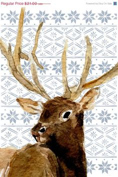 Holiday sale Deer and Fair Isle art print . by TheJoyofColor