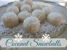"Coconut Snowballs. This is a super cute and healthy ""candy"" recipe that kids can help make! They only take minutes to put together too! #paleo #coconut"