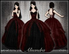 Second Life Marketplace - [Wishbox] Alisandra (Bloody Valentine Red) - Gothic Formal Dress or Wedding Gown - Goth Vampire Bridal