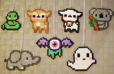 Cute Animal Perler Necklaces and Magnets! Snake - Lamb - Deer - Koala - Elephant - Ghost - Gooey Eyeball Bat on Etsy, $7.00