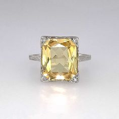 Bright Art Deco 3.73ct Natural Yellow by YourJewelryFinder on Etsy, $4200.00