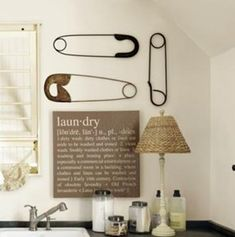 Ballard Inspired Laundry Sign from Infarrantly Creative. She says she is going to try to make the safety pins.