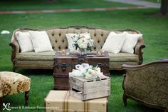 vintage wedding setup