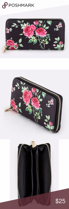 "Floral Rose Zip Around Wallet (one left!) Black zip around wallet with pink rose design.  This wallet has 6 credit card holders on each side, three separate interior sections, plus a middle zipper pouch!  Length - 8"" Width - 1"" Height - 4"" Composition - Faux Leather Bags Wallets"