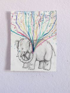 Elephant Spraying Rainbow Original Watercolor Painting Prints (11x14).etsy:sincerely,alexandria