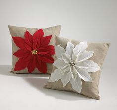 Amazon.com - Red Poinsettia Felt Holiday Design Decorative Throw Pillow, 17 Inch Square - Pointsetta Pillow