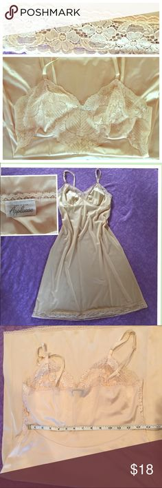 Vintage Vanity Fair🇺🇸 Vintage Vanity Fair nighty/ slip Made in USA with DUPONT nylon 🇺🇸Size 34. Yellow cream applause Intimates & Sleepwear Chemises & Slips
